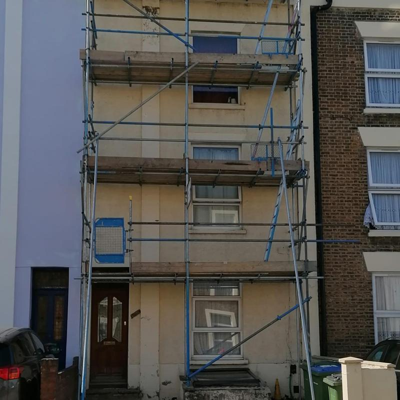 Image 6 - Scaffold erected ready for renovating a tired flakey property