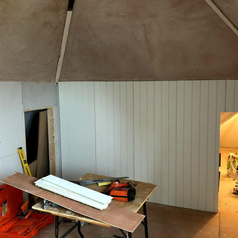 Image 13 - Progress of loft conversion with tongue and groove panelling in Epsom, Surrey.