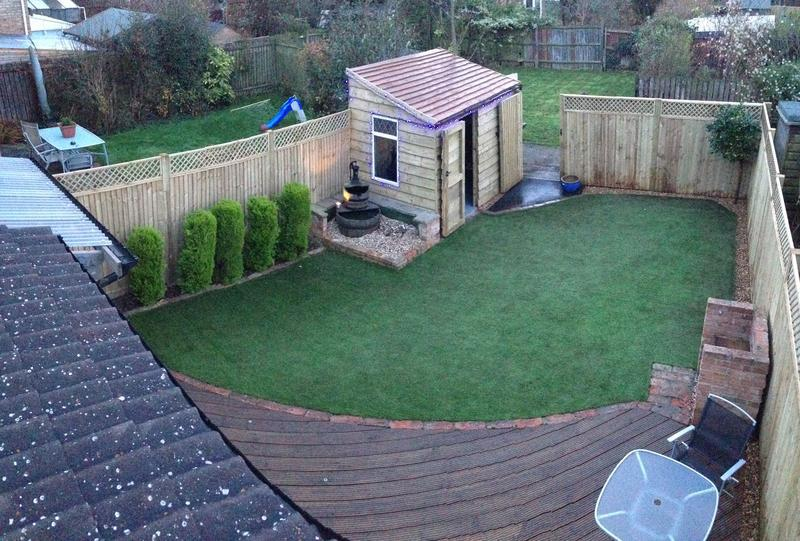 Image 6 - All new decking, complete fence and trellis , artificial lawn, and new bespoke shed in corner.