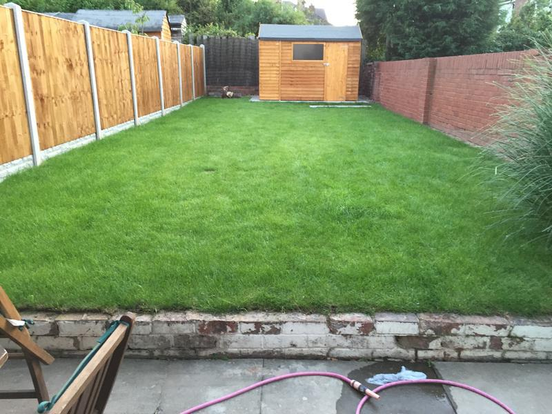 Image 82 - Garden design with new lawn, feather edge fence and shed area  months after completion