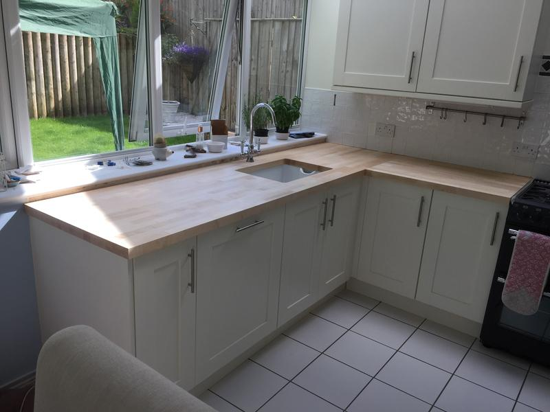 Image 101 - Replacement oak worktops and covered existing base unit to take Belfast sink