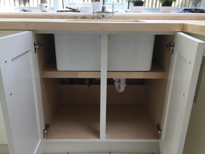 Image 104 - Replacement oak worktops and covered base unit for a Belfast sink