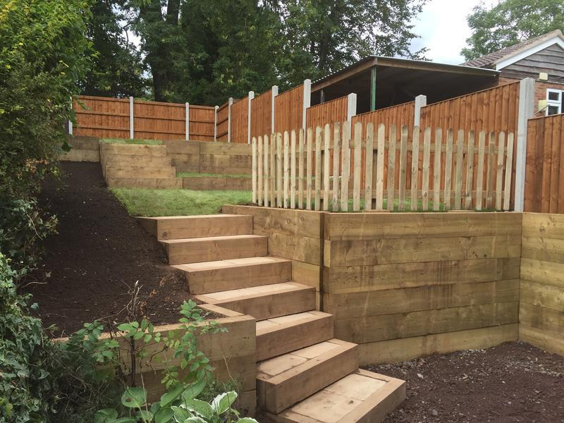 Image 57 - Complete redesign using railway sleepers and different levels of grass