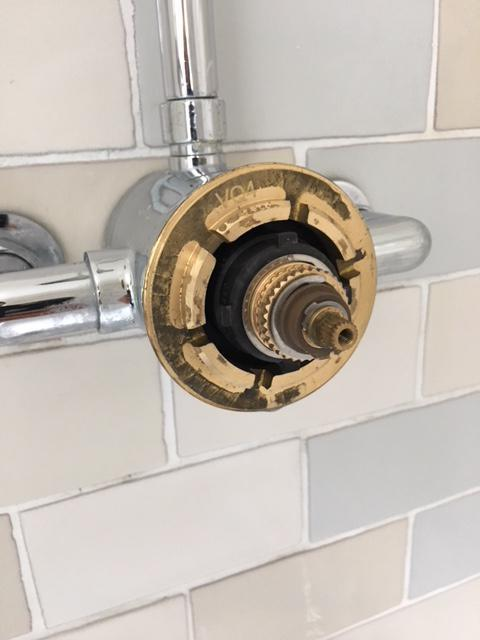 Image 31 - Hudson Reed thermostatic shower cartridge in place with controls removed.