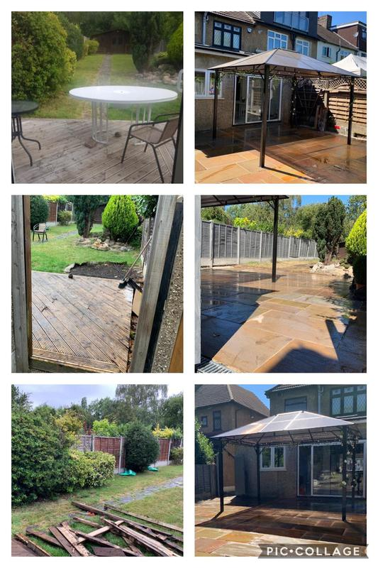 Image 19 - Garden Transformation, removal of all bushes on left hand side and pathway and patio made with Kota Classic Indian Sandstone Paving with Gazebo erected and installed securely.
