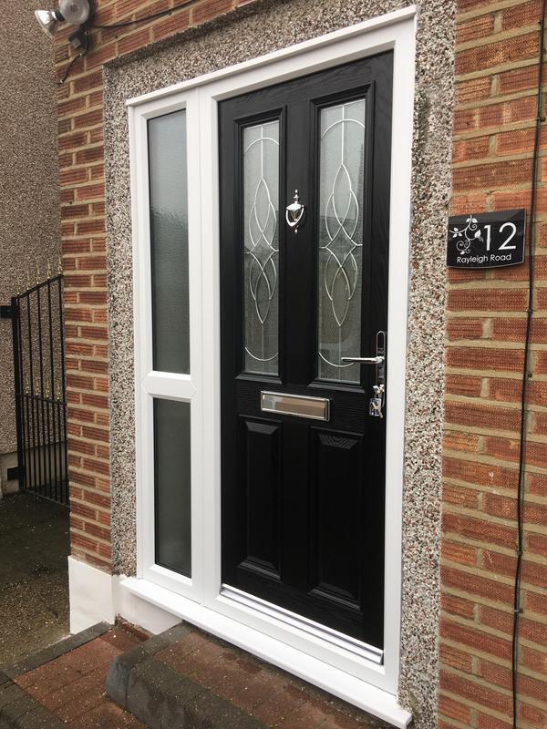 Image 49 - Composite 4 door in black with platinum elegance glass.
