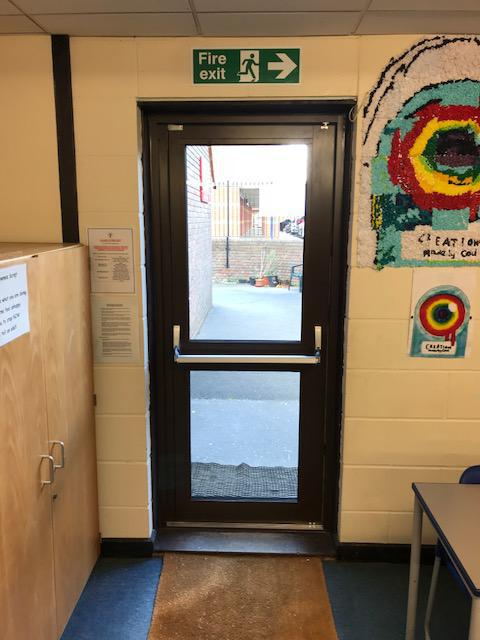 Image 16 - Aluminium entrance doors with panic bars fitted to a school in Southend on Sea