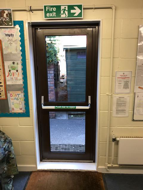 Image 17 - Aluminium Entrance doors fitted to a school in Southend on Sea.  Panic bars installed for ease of egress