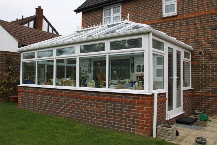 Image 58 - Conservatory with dwarf brick walls and glass roof