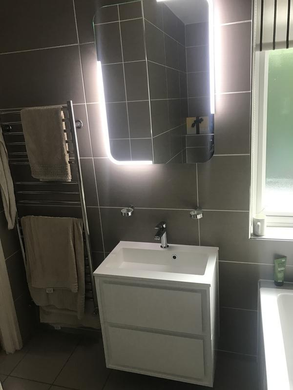 Image 3 - New wall hung basin fitted with motion sensor mirror lighting
