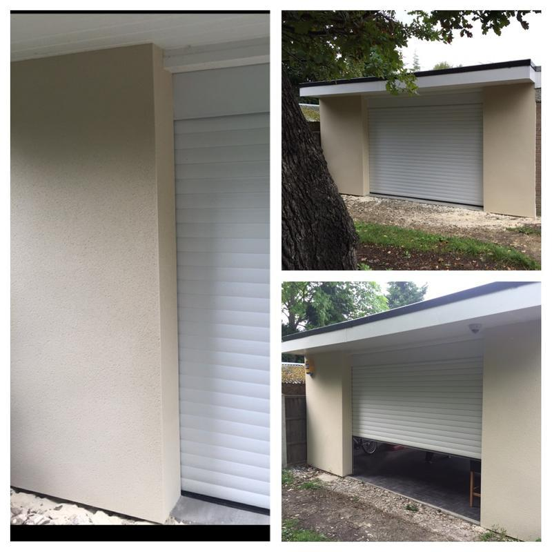Image 5 - Block built roller shutter garage finished in ivory monocouche