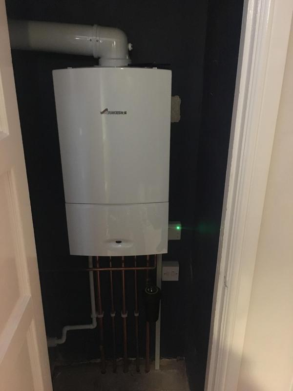 Image 7 - Old back boiler removed and Worcester combi installed. Filter added and hive heating installed for control