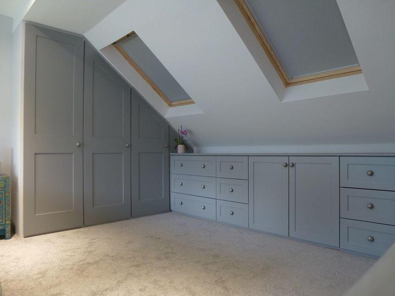 Image 43 - Loft conversion, plastered and painted and cupboards installed.
