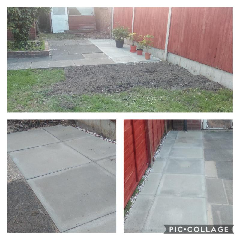 Image 18 - Full hedge removal and tree disposal with extensions to either side of patio in grey 600mm x 600mm concrete slabs to match customers requirements