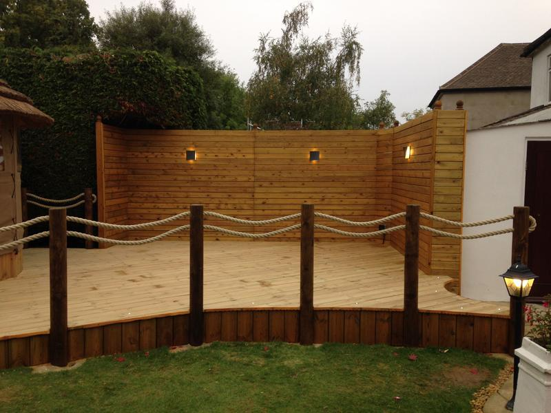 Image 22 - Timber decking, posts & rope railing, fencing, lighting and rendering.