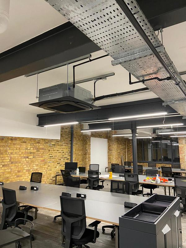 Image 35 - Commercial office air conditioning project in hoxton London. Six Daikin cassette type units with stunning black fascia's.