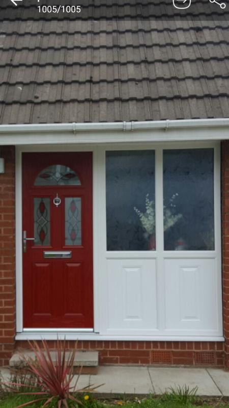 Image 84 - Red composite door with side panel , beautiful