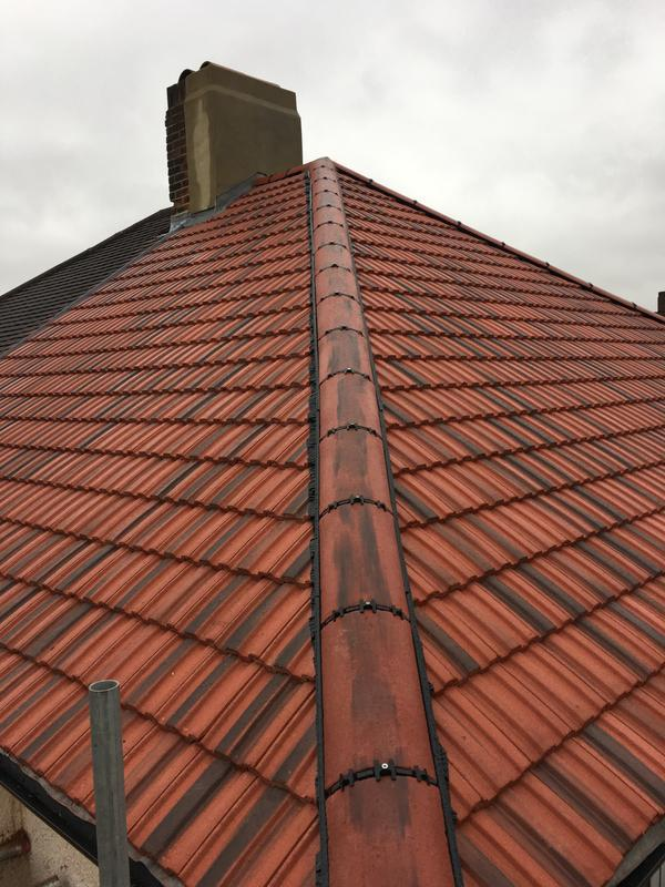 Image 31 - new Roof in Redland rustic red 49s, with dry ridge system