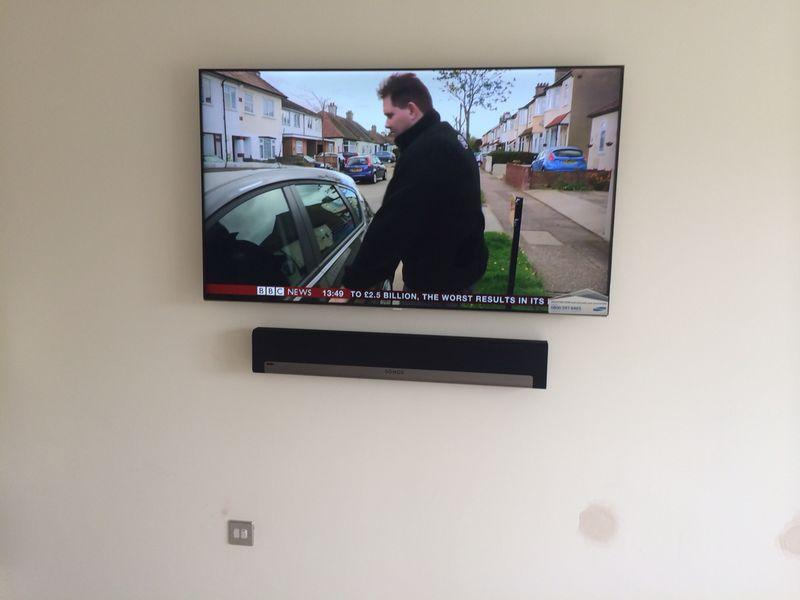 "Image 12 - 50"" TV Wall mount and Sonos Playbar"