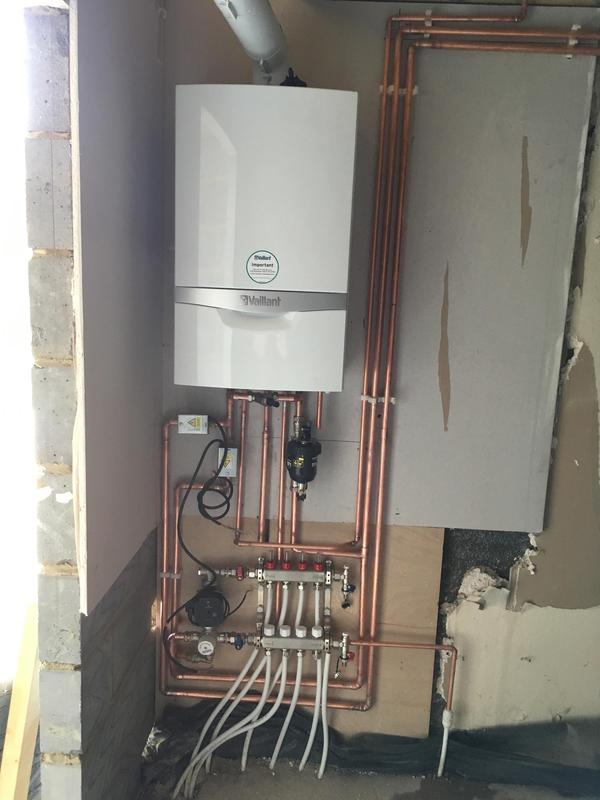 Image 22 - Combi boiler with under floor heating in extension. Vaillant.