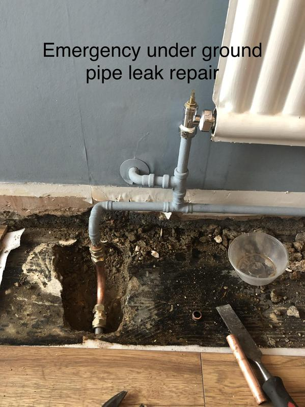 Image 36 - Emergency central heating pipe repairs. Damaged pipe is removed and put new pipe