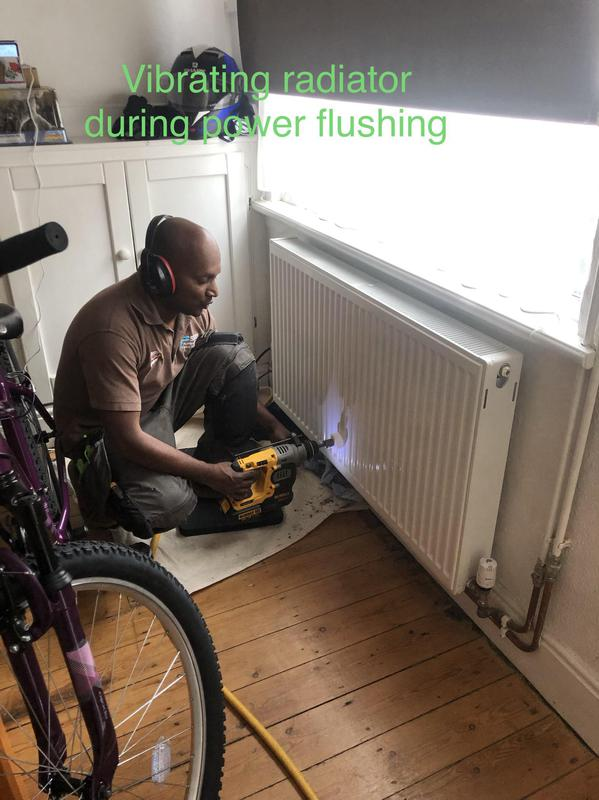 Image 41 - Power flushing central heating system. During power flushing we agitate radiators to remove sludges