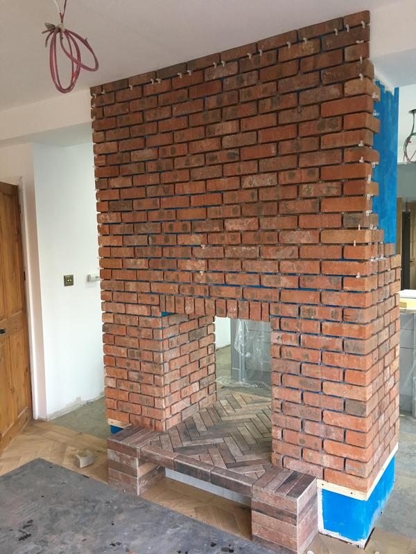 Image 5 - brickslip fire place all pointed with a porcelain hearth installed in herringbone