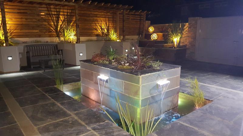 Image 19 - Planter walling, Water feature, lighting and pond