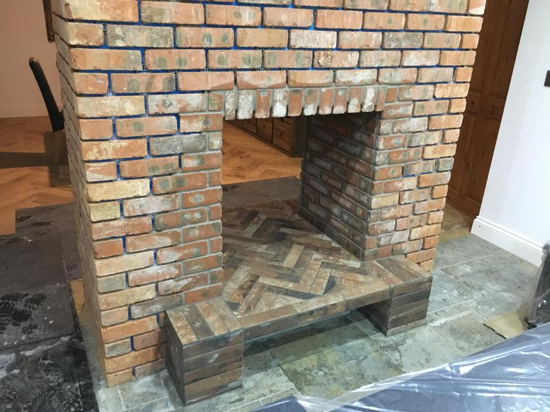 Image 6 - brickslip fire place all pointed with a porcelain hearth installed in herringbone