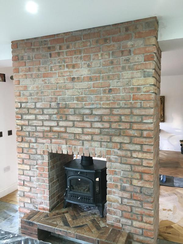 Image 1 - brickslip fire place all pointed with a porcelain hearth installed in herringbone