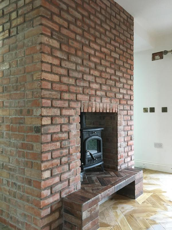 Image 4 - brickslip fire place all pointed with a porcelain hearth installed in herringbone