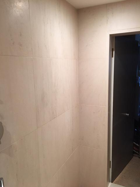 Image 19 - Leak behind tiled shower cubicle down through three levels.