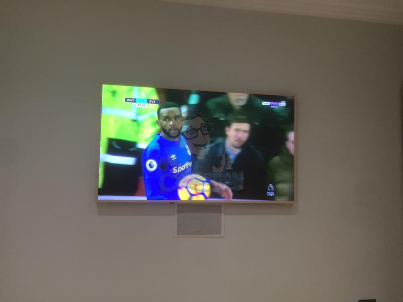 Image 32 - Samsung 65 Frame Tv with Keff 5.1 surround sound and low level mid range speaker installed in wall connect to Wyrestorm Hdmi matrix in comms room. No visible cabling