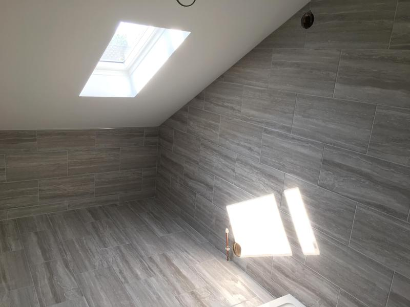 Image 27 - bathroom - 60 x 300 industrial effect tiles installed in a brickbond