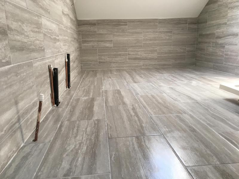 Image 26 - bathroom - 60 x 300 industrial effect tiles installed in a brickbond