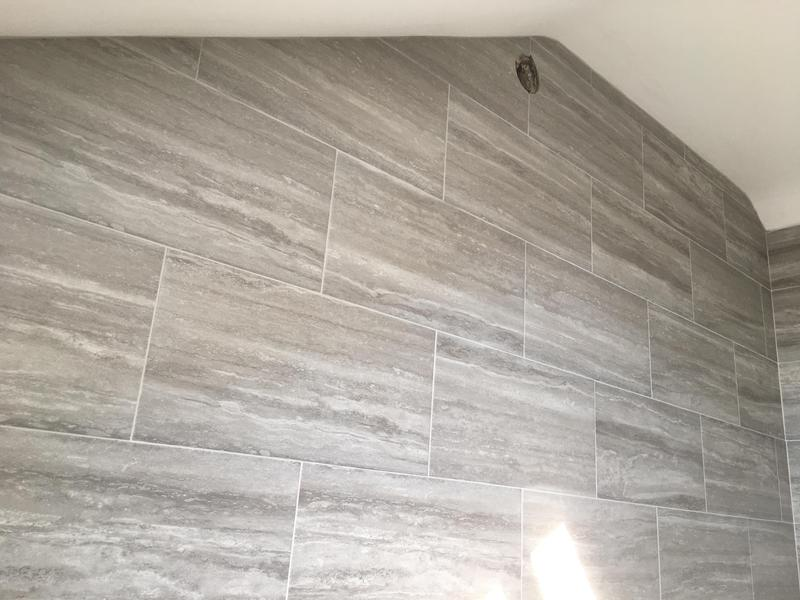 Image 23 - bathroom - 60 x 300 industrial effect tiles installed in a brickbond