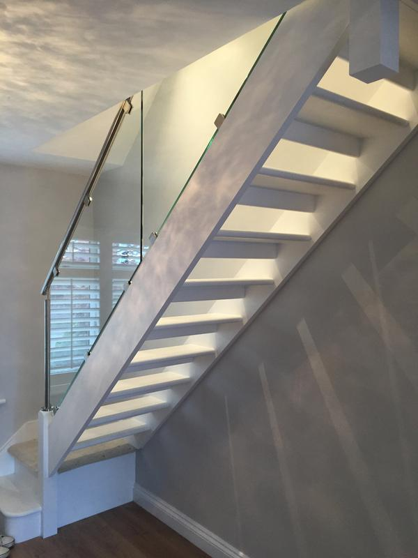 Image 12 - New open riser staircase with glass balustrade in Sidcup