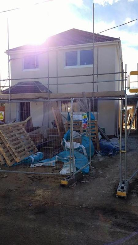 Image 6 - Conington three bed construction with aluminium window install and k-rend applied.
