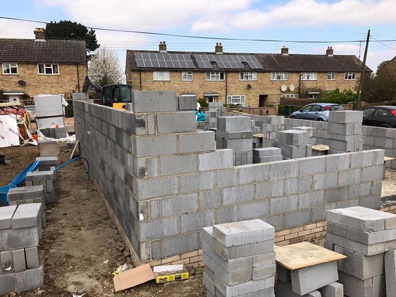 Image 3 - Blocking up to first floor height on three bed in Conington once groundworks completed.