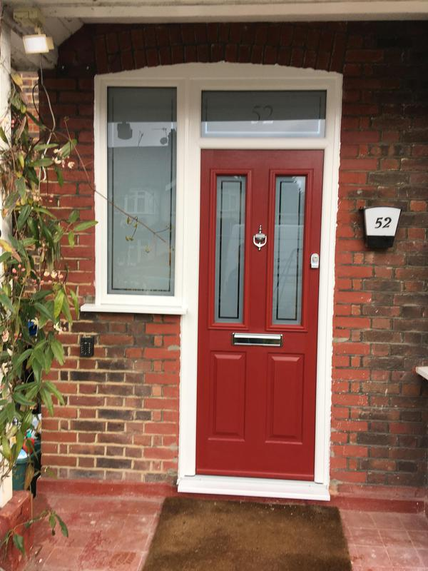 Image 60 - new pic of composite door, toplight and sidelight with number etched out and bespoke border in glass, no handles and heritage lock