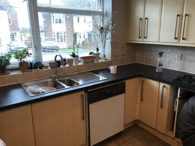 Image 1 - The kitchen sink and work top have now been changed at this property, three mitre cuts, and two cuts to allow for the sink and hob were required. Our gas engineer/plumber was booked in shortly after to reconnect the gas for the hob and plumb in the sink