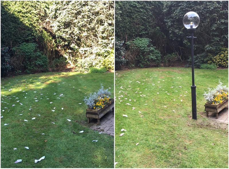Image 3 - Installation of lamppost in garden.