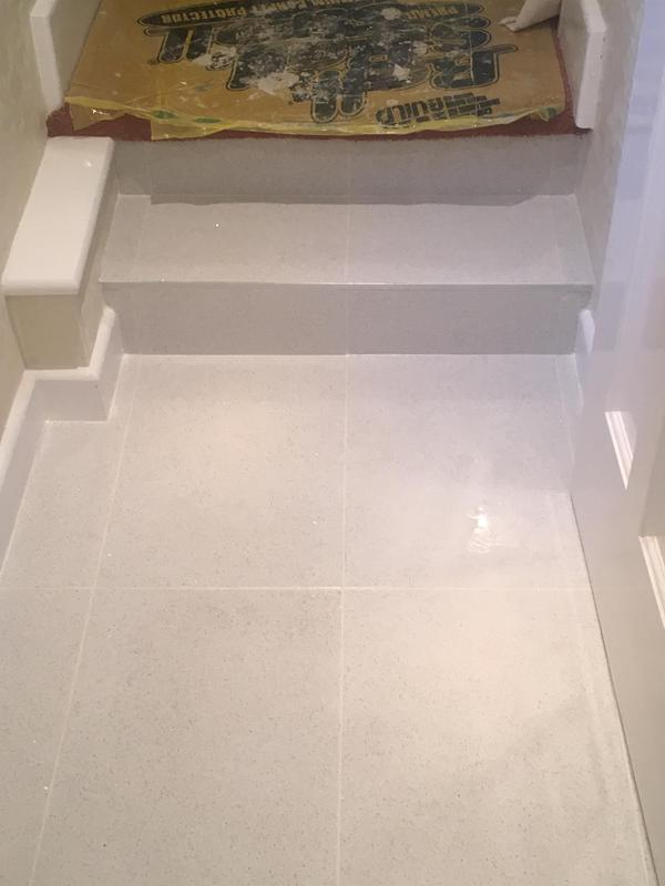 Image 82 - downstairs loo - floor levelled - then tiled in quartz tiles