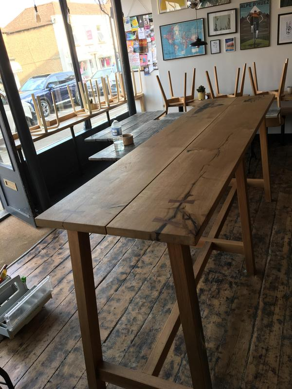 Image 2 - Large coffee shop table. Solid oak.