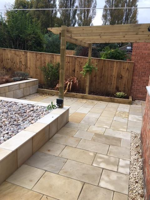 Image 13 - Natural sandstone patio, fencing and pergola