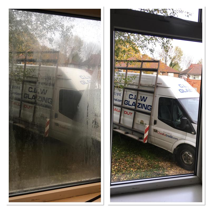 Image 7 - before and after of a failed double glazed unit on left and new on right
