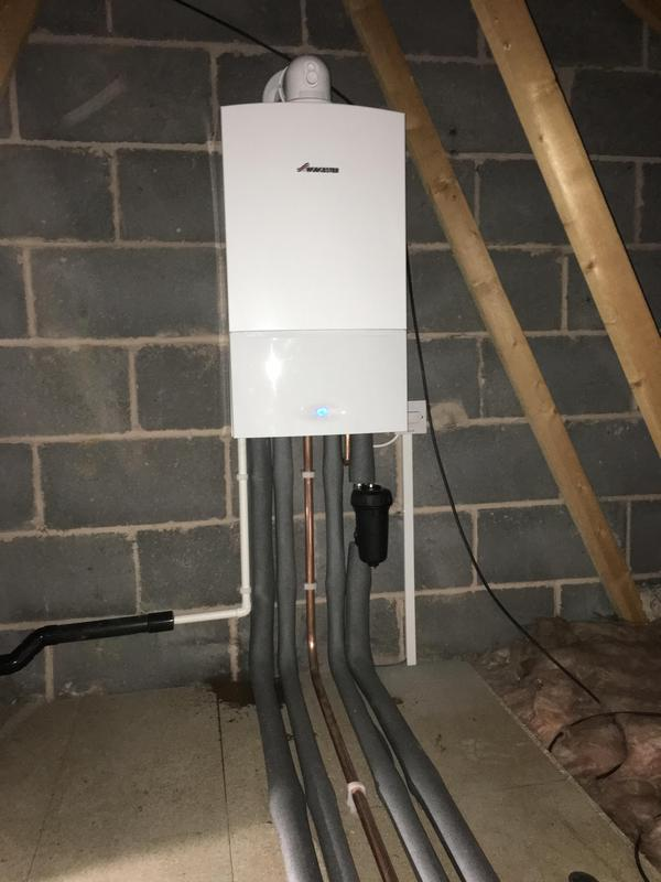 Image 5 - Worcester combi fitted in loft to maximise space. Filter added for further protection of the system. Hive heating installed to control the system.