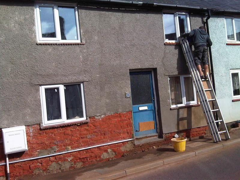 "Image 11 - re render bottom of house with ""bagging"" applied to pebbledash to blend in with the rest of the street. This was to stop penetrating damp and repair the damaged render due to the damp issue inside. This has also been rectified inside"