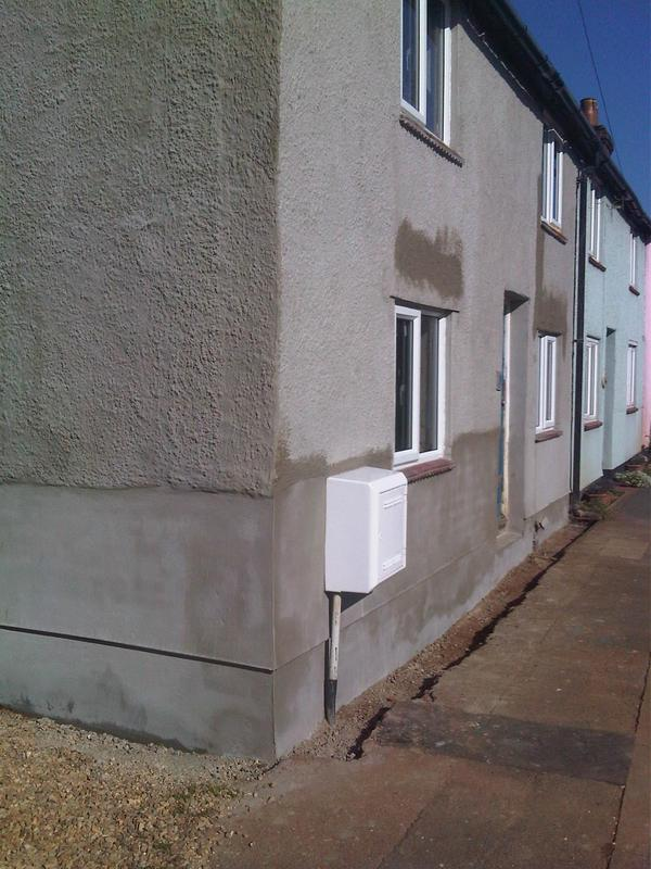 "Image 7 - re render bottom of house with ""bagging"" applied to pebbledash to blend in with the rest of the street. This was to stop penetrating damp and repair the damaged render due to the damp issue inside. This has also been rectified inside"