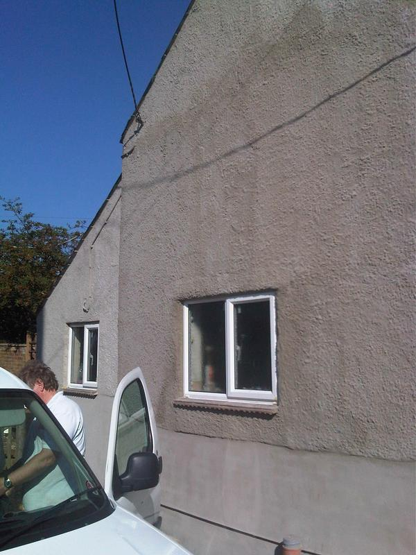 "Image 6 - re render bottom of house with ""bagging"" applied to pebbledash to blend in with the rest of the street. This was to stop penetrating damp and repair the damaged render due to the damp issue inside. This has also been rectified inside."
